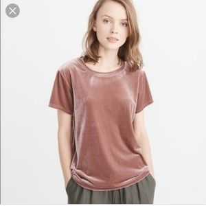 Abercrombie & Fitch pink velvet short sleeved top